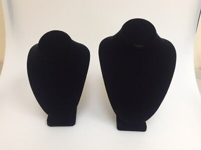 Necklace Busts For Displaying Jewelry - Black Velvet 2 Pieces