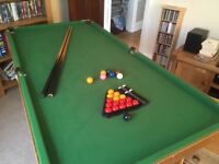 Snooker Table with balls, cues