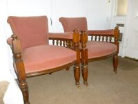2 Victorian antique library chairs