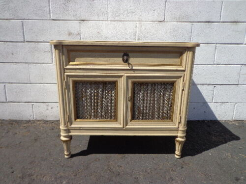 French Provincial Nightstand Bedside Table Bombe Gold Bachelor Chest Neoclassic