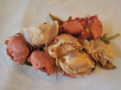 Antique Millinery Flower Collection Vtg Handmade Trim Corsage Pink Fragile H1373