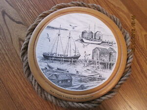 Hand Made Port Hole Scene Art in Black Nova Scotia