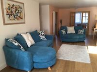 Sofa - four seater sofa with chaise and cuddler sofa in teal. Very good condition.