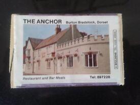 10 matchboxes of West bay, Burton, Abbotsbury pubs. 5 different ones