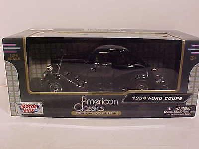 1934 Ford Coupe 2 door Hardtop Die-cast  Car 1:24 Motormax 7 inch Black 2 Door Hardtop Coupe