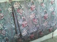 2 pairs grey & pink floral patterned, cotton, lined curtains