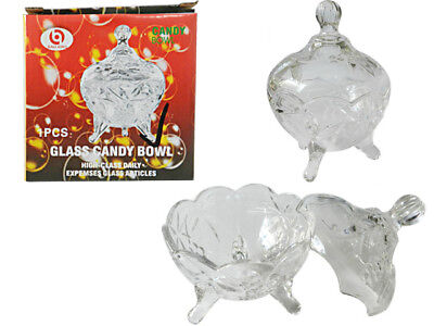 Glass Sugar Bowl with Lid Beautiful Candy Dish 4 x 5.5""