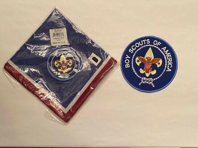 BSA International Adult Neckerchief Scarf Style 00746 and Jacket Patch Bundle