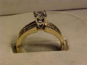 #1072-14K W/Y/Gold ENGAGEMENT DIAMOND RING-CENTRE STONE .56ct! APPRAISED $4,150.00-SELL $995.00 LAYAWAY AVAIL.size-8 1/4