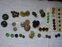 Assorted green buttons - some in matching sets, some individual