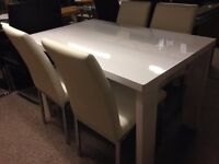 New Peru white high gloss dining table & 4 chairs