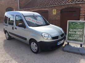 08 RENAULT KANGOO 1.2 16V AUTHENTIQUE, VERY LOW MILEAGE, 12,650 DISABILITY VEHICLE, OUTSTANDING