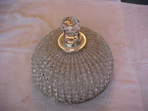 """GREAT Cut Glass Beaded Crystal Prism Hanging Electric Light Fixture Dome 7-3/4"""""""