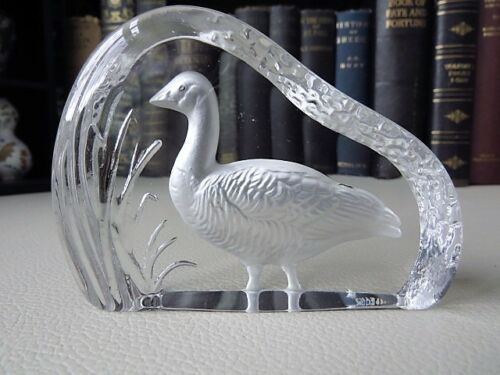 Vintage Wedgwood Art Crystal Glass Paperweight - Goose