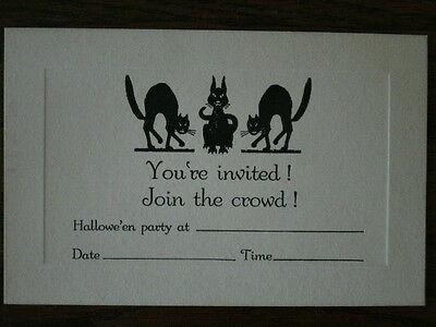 Vintage Halloween Invitation UNUSED 1920 - 1930's Scary Black Cat Cats Spooky A9](Halloween Invitation)