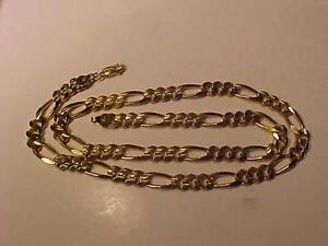 "#3136-QUALITY 10K Y/Gold FIGARO CHAIN-22 1/2"" LONG LOBSTER CLAW -WEIGHS 52.92 gms. ACCEPT EMAIL BANK TRANSFER  or CASH"