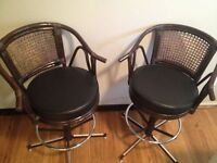 vintage swivel wicker leather bar chairs