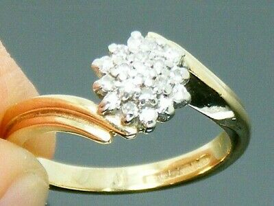 9ct Gold 0.20ct Diamond Hallmarked Cluster Engagement ring size J
