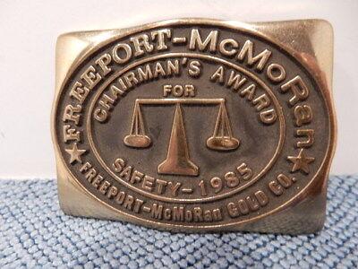 Freeport Mcmoran Gold Co Brass Belt Buckle 1985