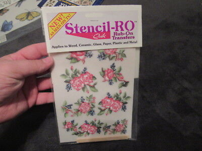 BRAND NEW STENCIL QUICK ROSES RUB ON PACK