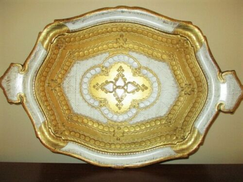Extra-Large Gold Off-White Vintage Italian Florentine Tole Design Serving Tray