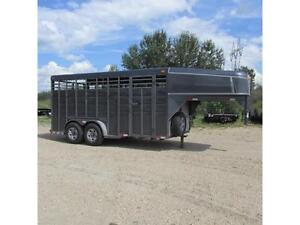 2016 Calico 7 X 16 Stock Gooseneck Trailer w. Tandem 6K Axles