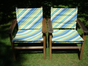 Two Teak Patio Chairs