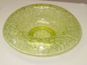 Vintage Green Glass Roleed Edge Bowl