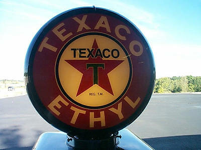 gas pump globe TEXACO ETHYL reproduction 2 glass lense in a black plastic body