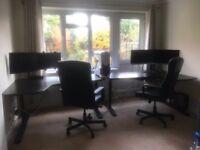 2 Desks + 2 Swivel Chairs