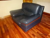 Large Quality Navy Blue Leather Armchair