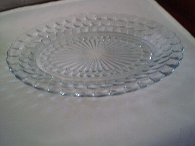 "ANCHOR HOCKING BUBBLE BLUE OVAL SERVING PLATTER  - 11 3/4  "" - 1940'S"