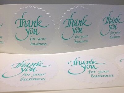 100 Thank You For Your Business 2 Starburst Teal New Stickers Aqua Labels