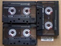 JL 3x TDK AD 90 ACCOUSTIC DYNAMIC CASSETTE TAPES 1988-1989 JOB LOT OR SOLO AD90