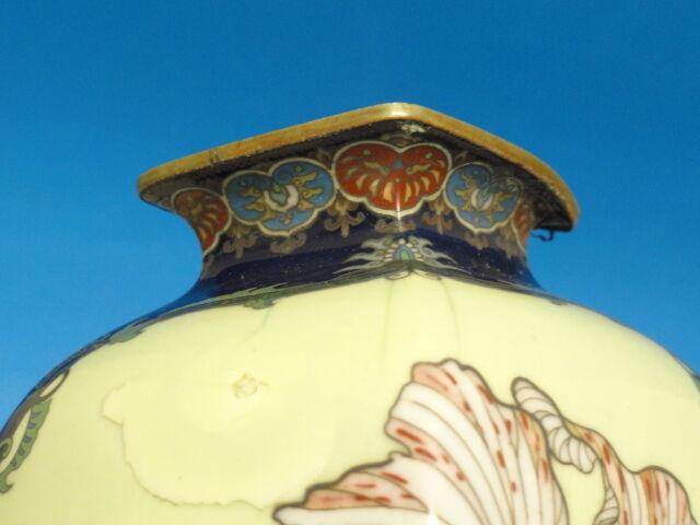 "RARE MEIJI NAMIKAWA YASUYUKI ? TECHNIQUE CLOISONNE VASE ~ 9.75"""
