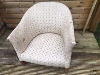 Antique tub chair - upholstery project £15