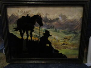 Reverse Painted Glass Silhouette Picture - Cowboy and Horse