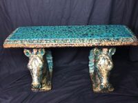 1 Large Old Georgian Bronze Verdigris Style Flat Top Stone Horses Garden Bench
