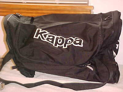 """Vintage KAPPA black & white HUGE Duffle Overnight Gym Bag, 23"""" wide, Old Logo"""