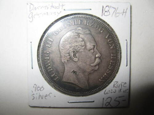 Old Rare 1876-H 5 Mark Hesse Darmstadt Germany Silver Coin Foreign Counterstamp