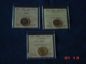 LOT OF 3 CANADA 5 CENT COINS