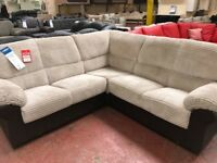 BARGAIN! UNIVERSAL CORNER SOFA,CORD,FAUX LEATHER,BROWN AND CREAM COLOUR,DELIVERY AVAILABLE!