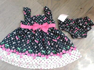 Sweet Size 6-9M Months Baby Girl 2 Piece Cherry Dress NWT
