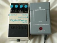 Boss DD3 delay pedal plus power supply unit.