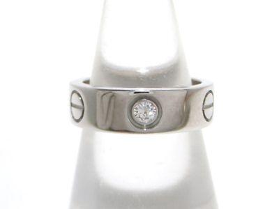 Auth Cartier Love Ring Half Diamond 18K White Gold Diamond Ring#50