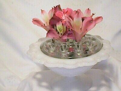 Vintage Milk Glass Filigree Lace Pedestal Footed Dish & LG 16hole Flower Frog