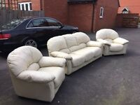 CREAM LEATHER SOFA WITH 2 CHAIRS VERY GOOD CONDITION, FREE delivery in Bristol