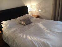 King Size Manhattan Black Bonded Leather Upholstered Bed Frame