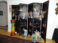 Chinese Lacquer Screen - Six Panels