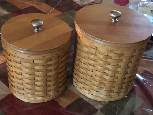 Set of 2 LONGABERGER Basket CANISTER SET with Wooden Lids 2004 w Airtight Tops